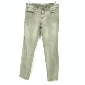 Free People Sz 25 Washed Green Skinny Ankle Jeans
